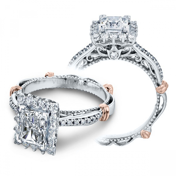 Two Tone Radiant cut Engagement Rings