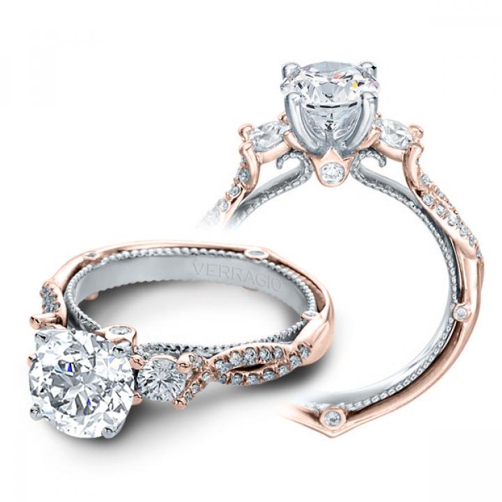 Milgrains Rose Gold Engagement Rings