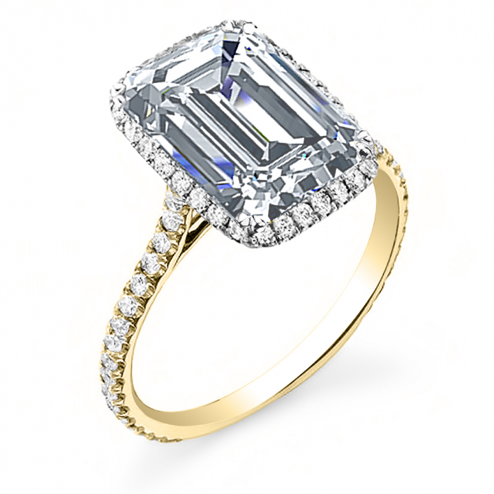 Yellow Gold Emerald cut Engagement Rings