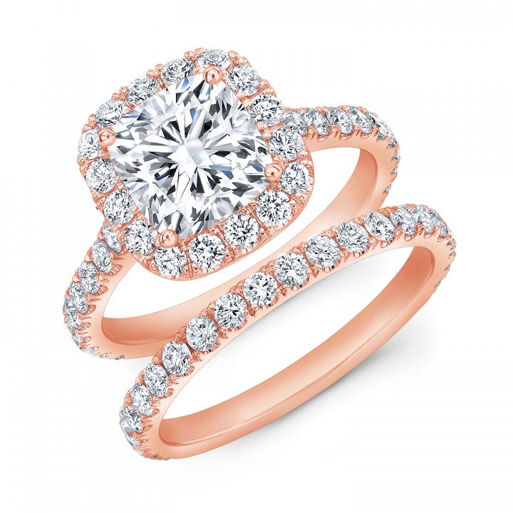 Rose Gold Bridal Wedding Ring Sets Diamond Mansion