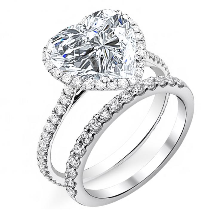Heart Shape Bridal Wedding Ring Sets Diamond Mansion