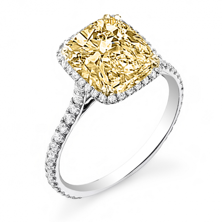 Eternity Yellow Diamond Engagement Rings