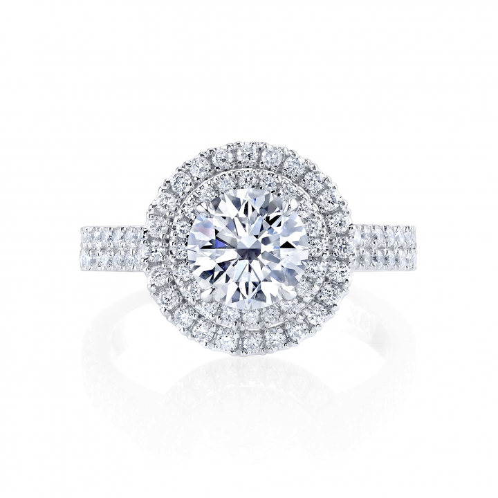 Double Halo Round cut Engagement Rings