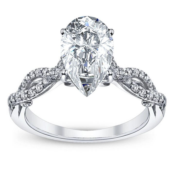 Hand Engraved Pear cut Engagement Rings