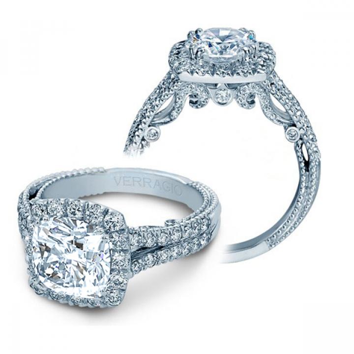 Milgrains Cushion cut Engagement Rings