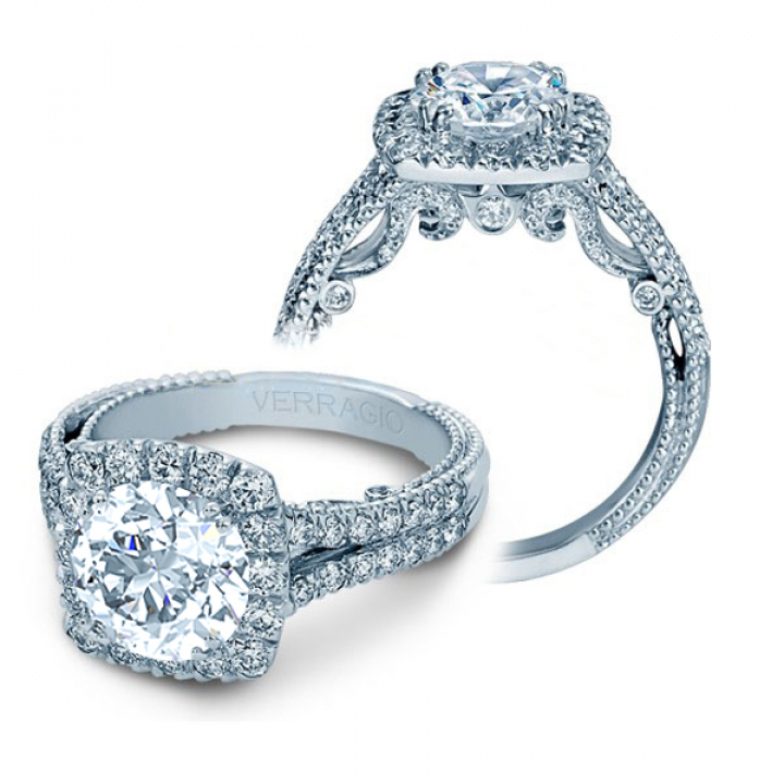 Hand Engraved Pave Engagement Rings