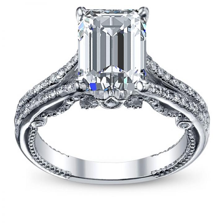 Milgrains Emerald cut Engagement Rings