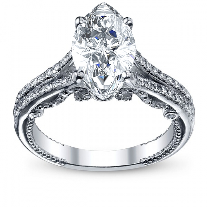 Filigree Marquise cut Engagement Rings