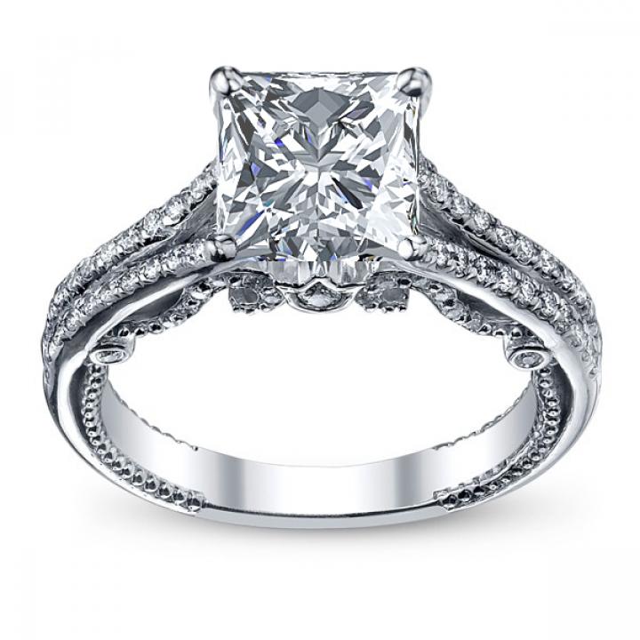 Milgrains Princess cut Engagement Rings