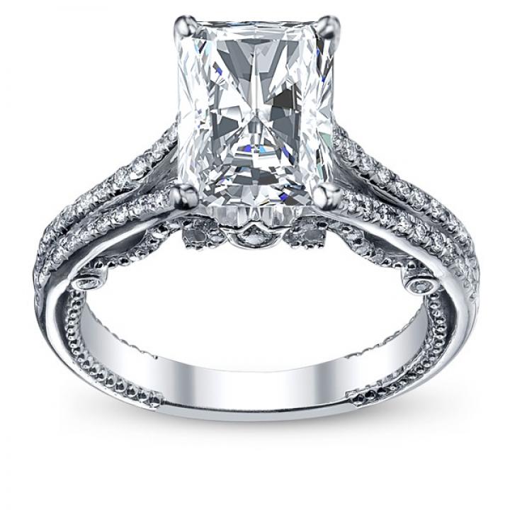 Filigree Radiant cut Engagement Rings