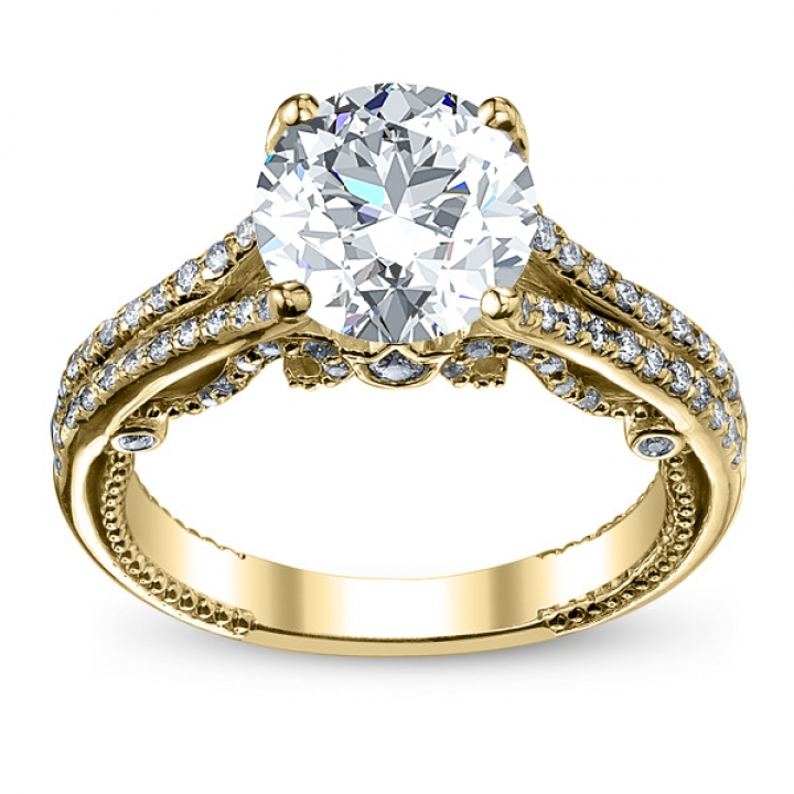 Yellow Gold Split Shank Engagement Rings