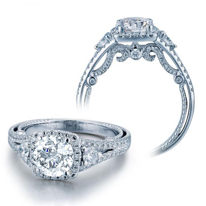 Round cut Three Stone Engagement Rings