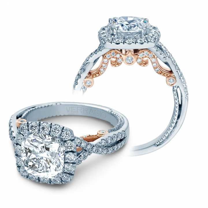 Two Tone Cushion cut Engagement Rings