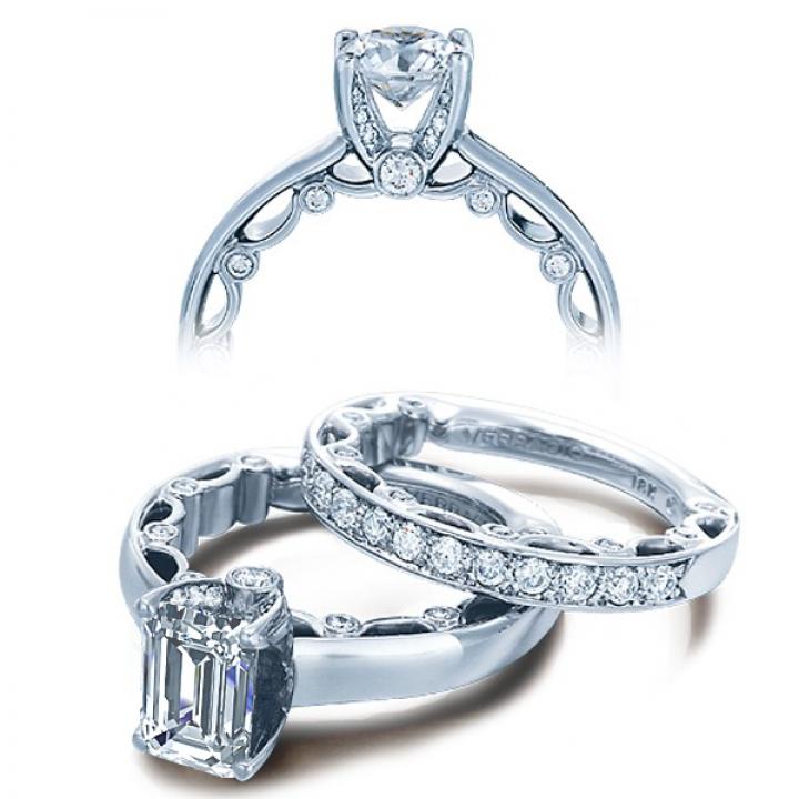 Pattern Emerald cut Engagement Rings