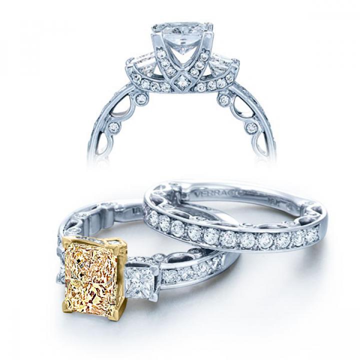 Three Stone Yellow Diamond Engagement Rings