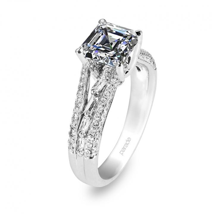 Baguette Accents Engagement Rings