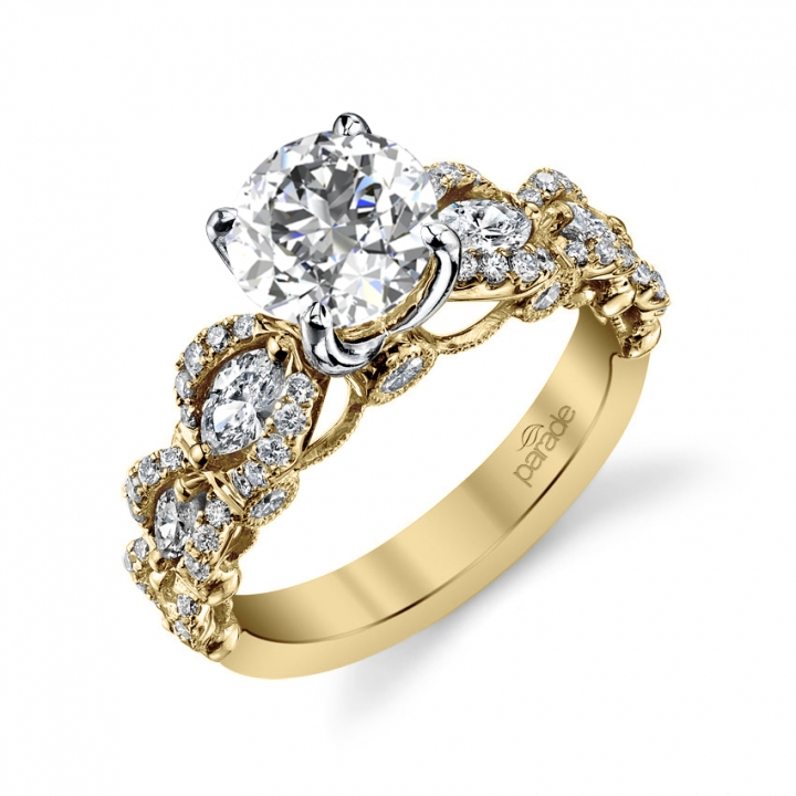 Cluster Yellow Gold Engagement Rings