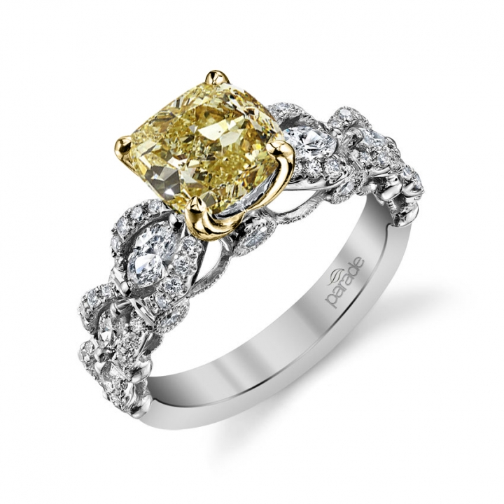 Cluster Yellow Diamond Engagement Rings