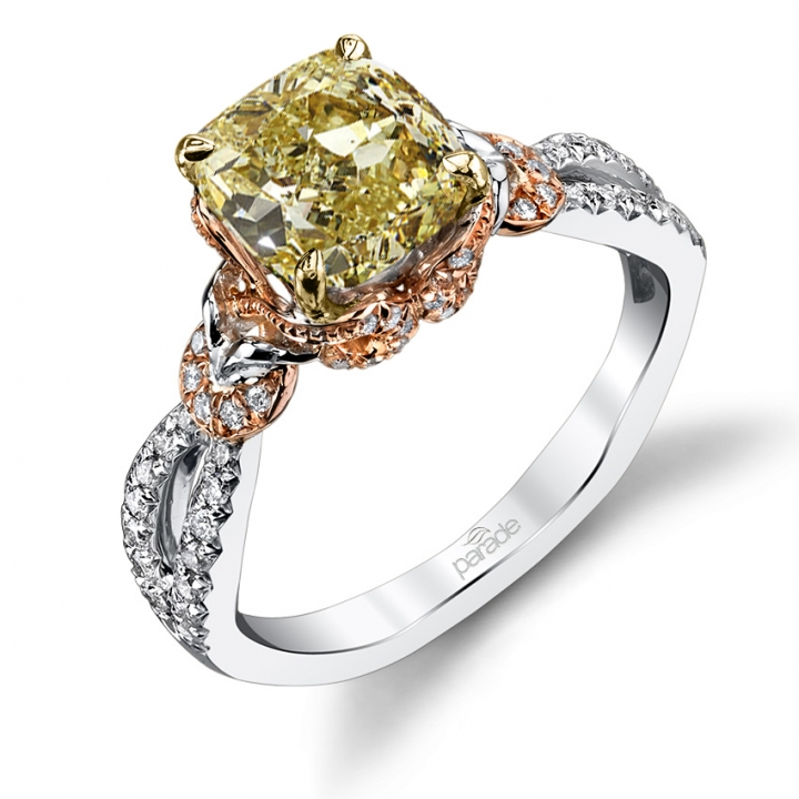 Halo Yellow Diamond Engagement Rings