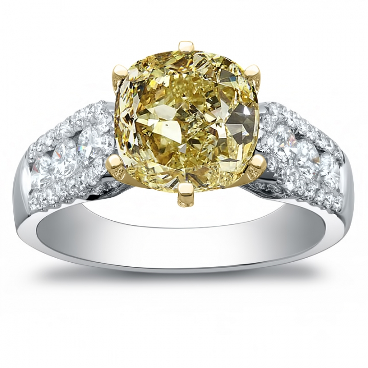 Oval Cut Channel Set Yellow Diamond Engagement Rings