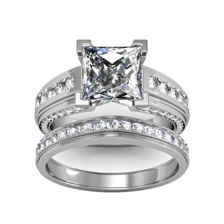 Princess Cut Channel Set Bridal Wedding Ring Set Diamond Mansion