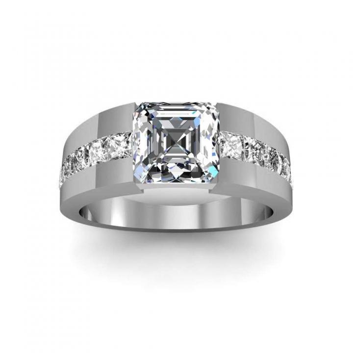 Asscher Cut Channel Set Engagement Ring Settings