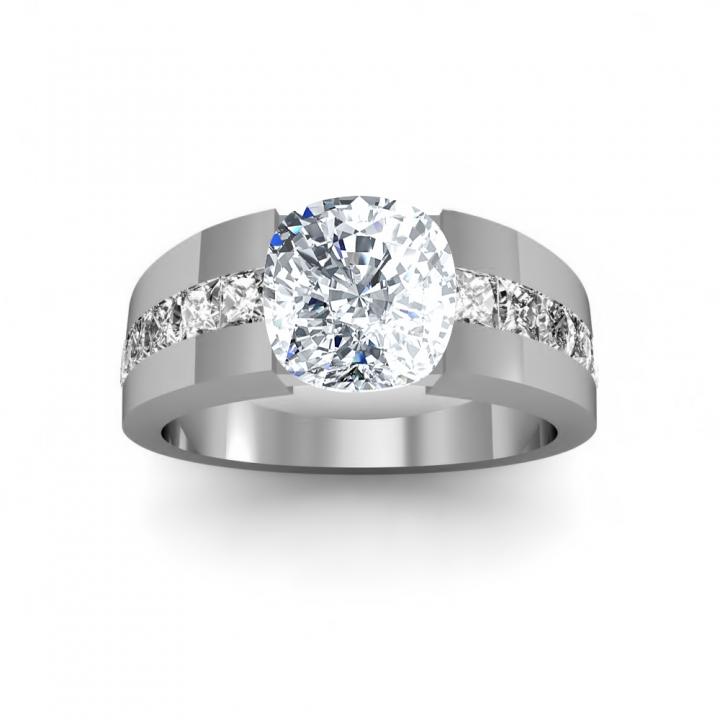 Bar Set Cushion cut Engagement Rings