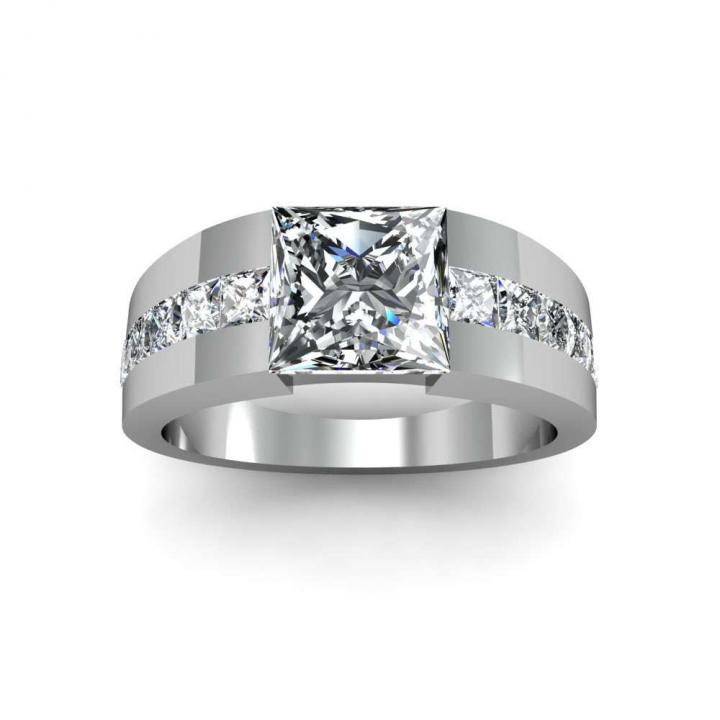 Bar Set White Gold Engagement Rings