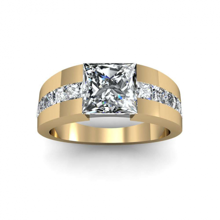 Tension Yellow Gold Engagement Rings