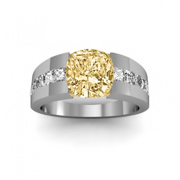Bar Set Yellow Diamond Engagement Rings