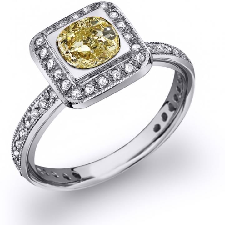 Bezel Set Yellow Diamond Engagement Rings