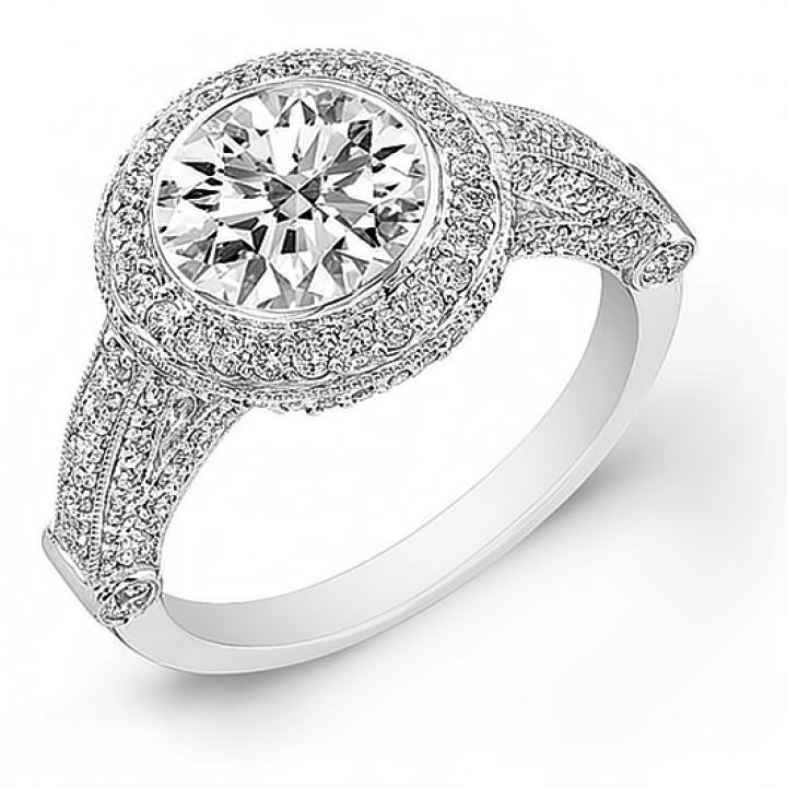 Pattern Bezel Set Engagement Rings