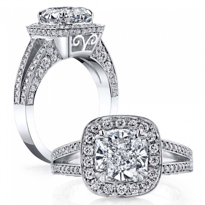 Filigree Cushion cut Engagement Rings