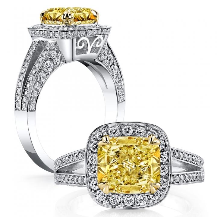 Filigree Yellow Diamond Engagement Rings