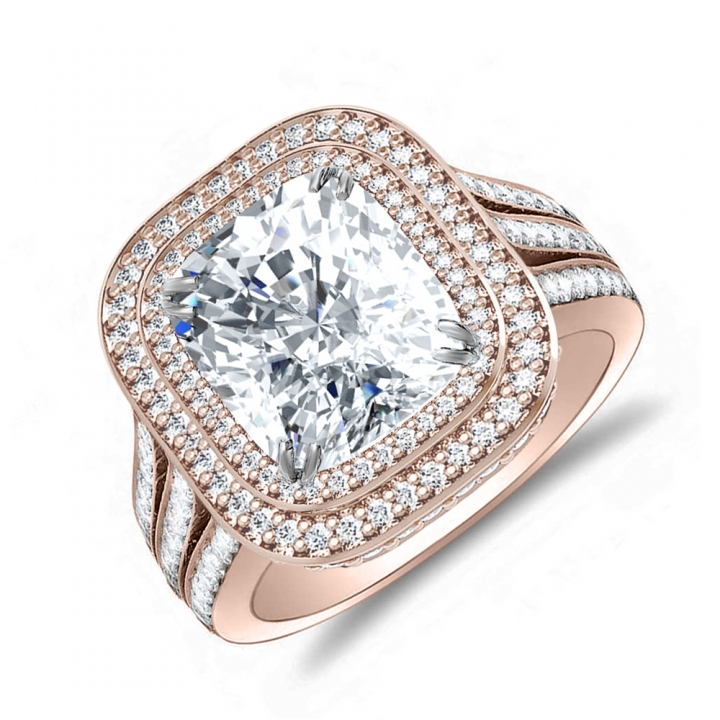 Double Halo Rose Gold Engagement Rings