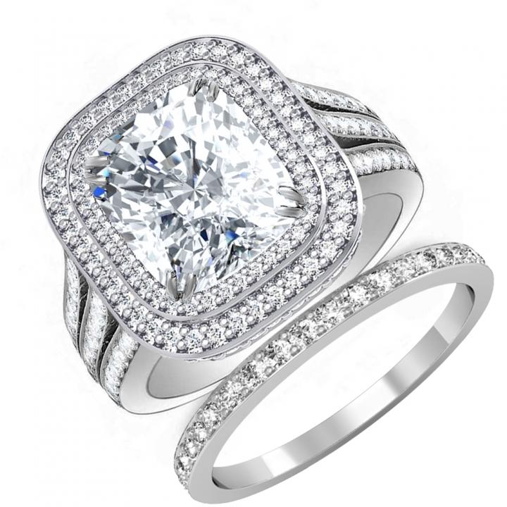 Double Halo Bridal Wedding Ring Sets