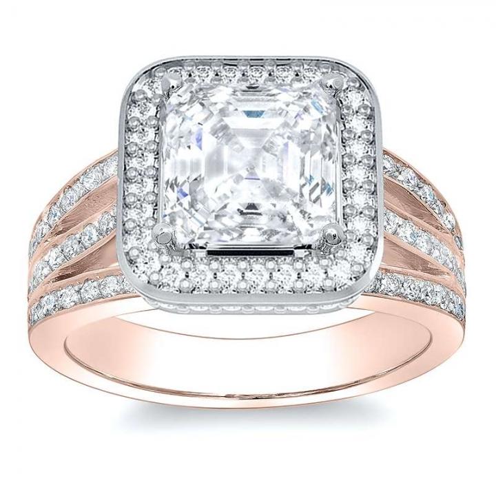 Rose Gold Asscher cut Engagement Rings