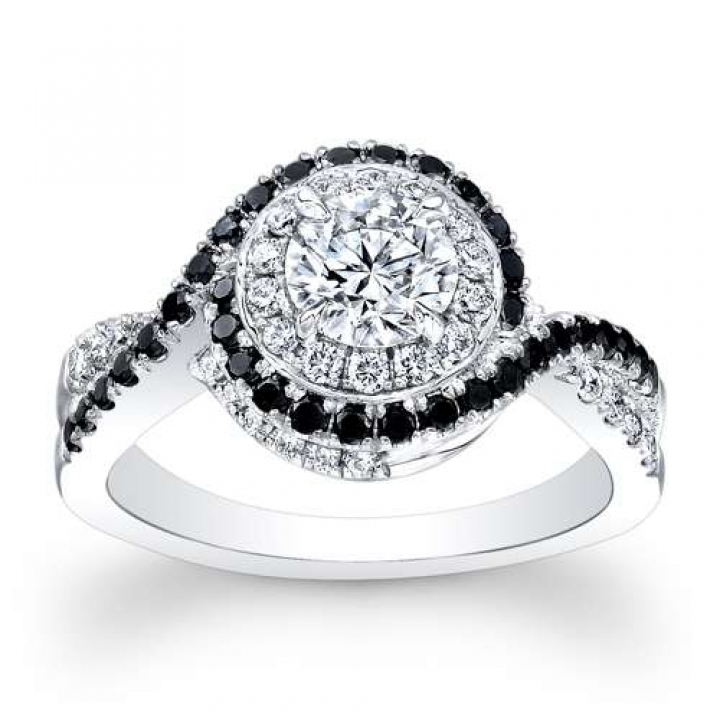 Black Accents Pave Engagement Rings