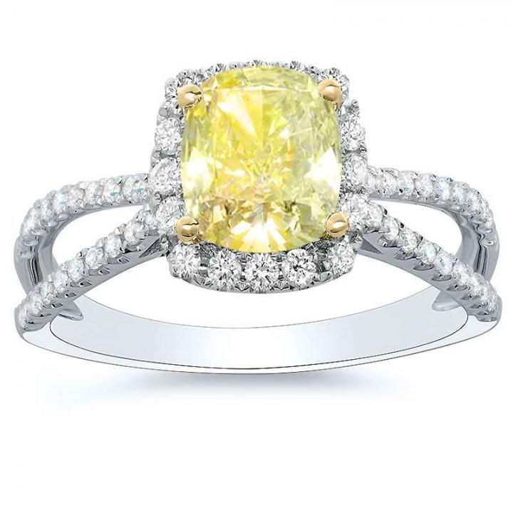 Asscher cut Yellow Diamond Engagement Rings