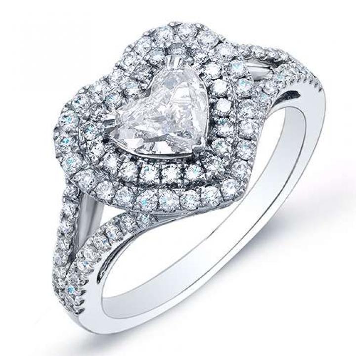 Double Halo Heart Shape Engagement Rings