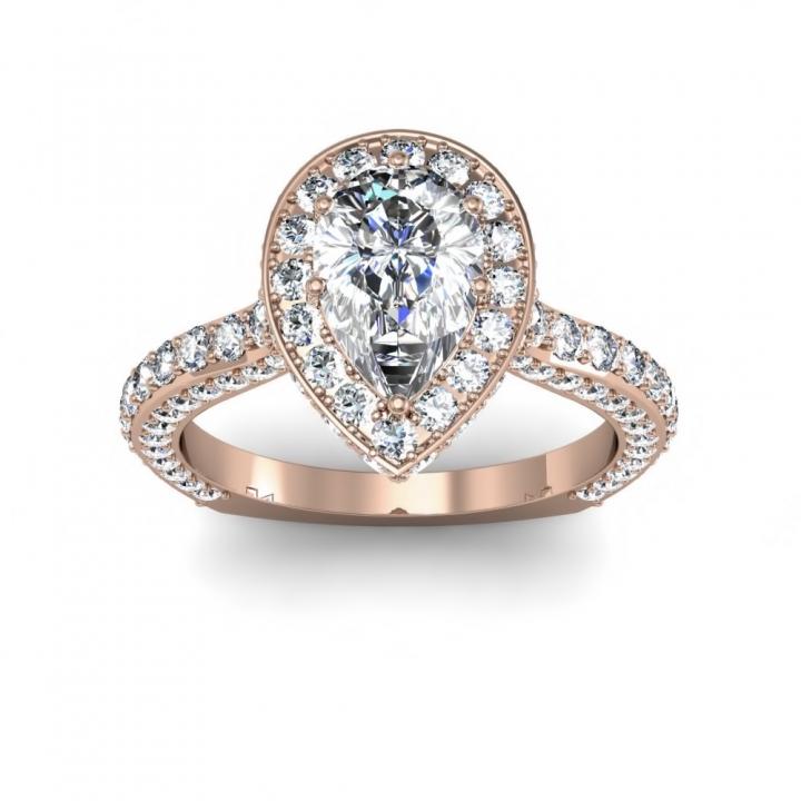 Rose Gold Pear cut Engagement Rings