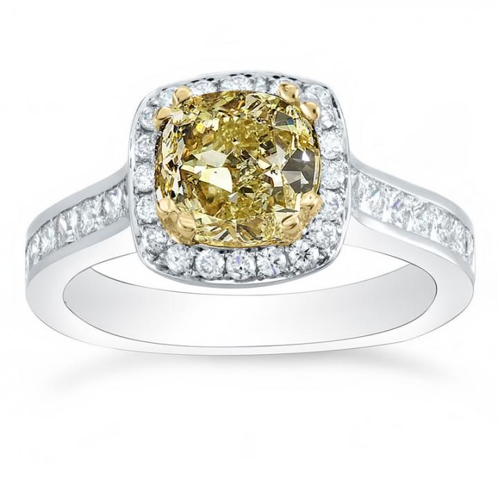 Channel Set Yellow Diamond Engagement Rings