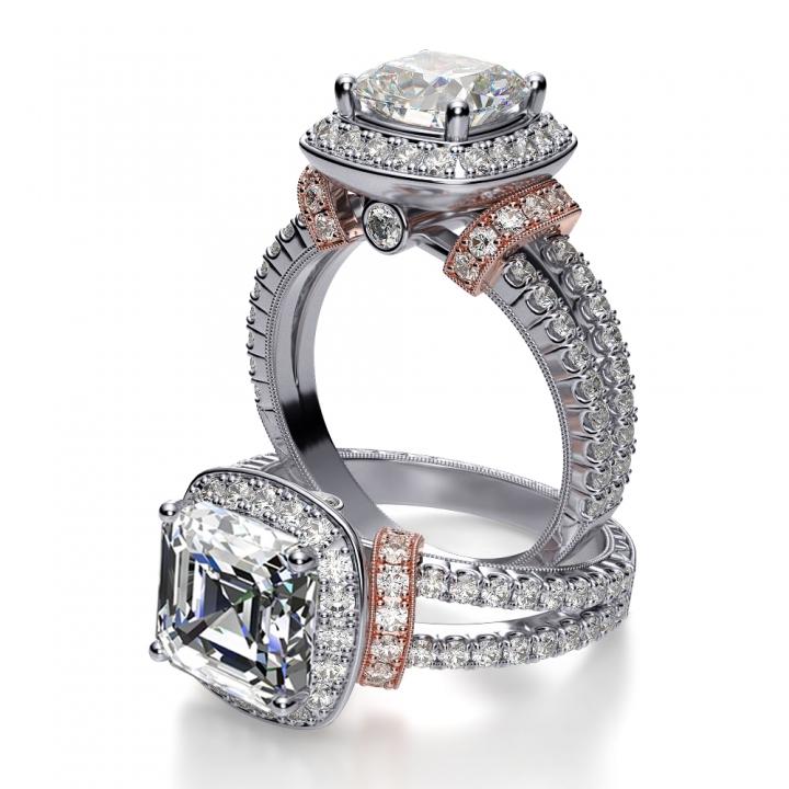 Hand Engraved Split Shank Engagement Rings