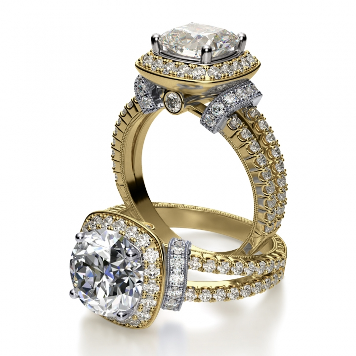 Yellow Gold Round cut Engagement Rings