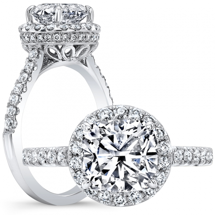 Infinity Cushion cut Engagement Rings