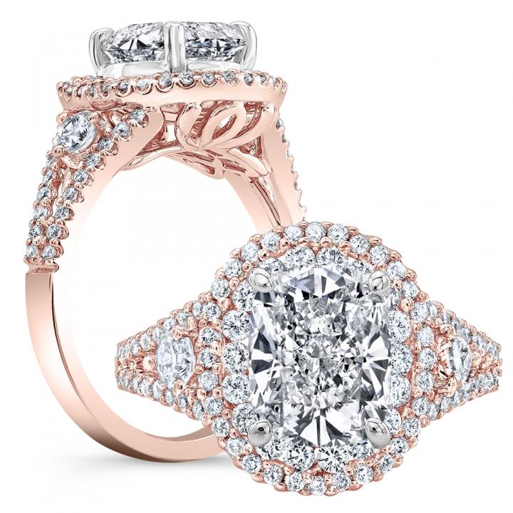 Rose Gold Split Shank Engagement Rings