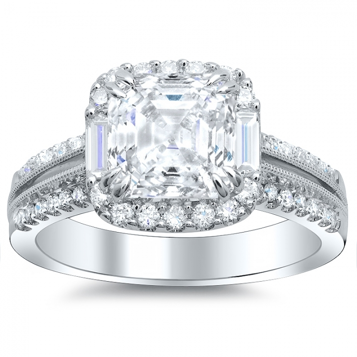 Baguette Accents Halo Engagement Rings