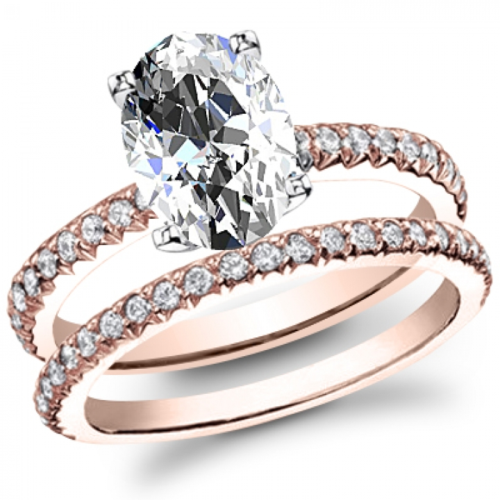Rose Gold Oval cut Engagement Rings
