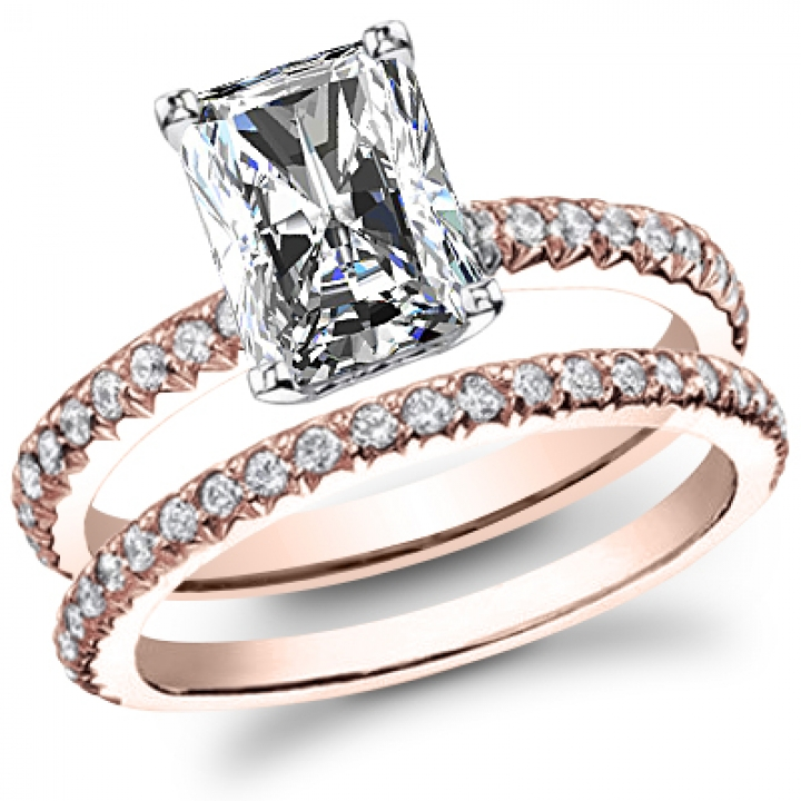 Rose Gold Radiant cut Engagement Rings