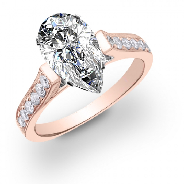 Rose Gold Pear cut Engagement Rings